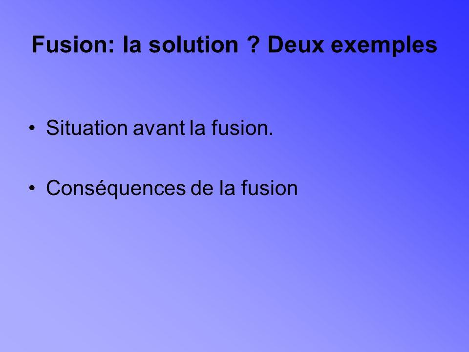 Fusion: la solution Deux exemples Situation avant la fusion. Conséquences de la fusion