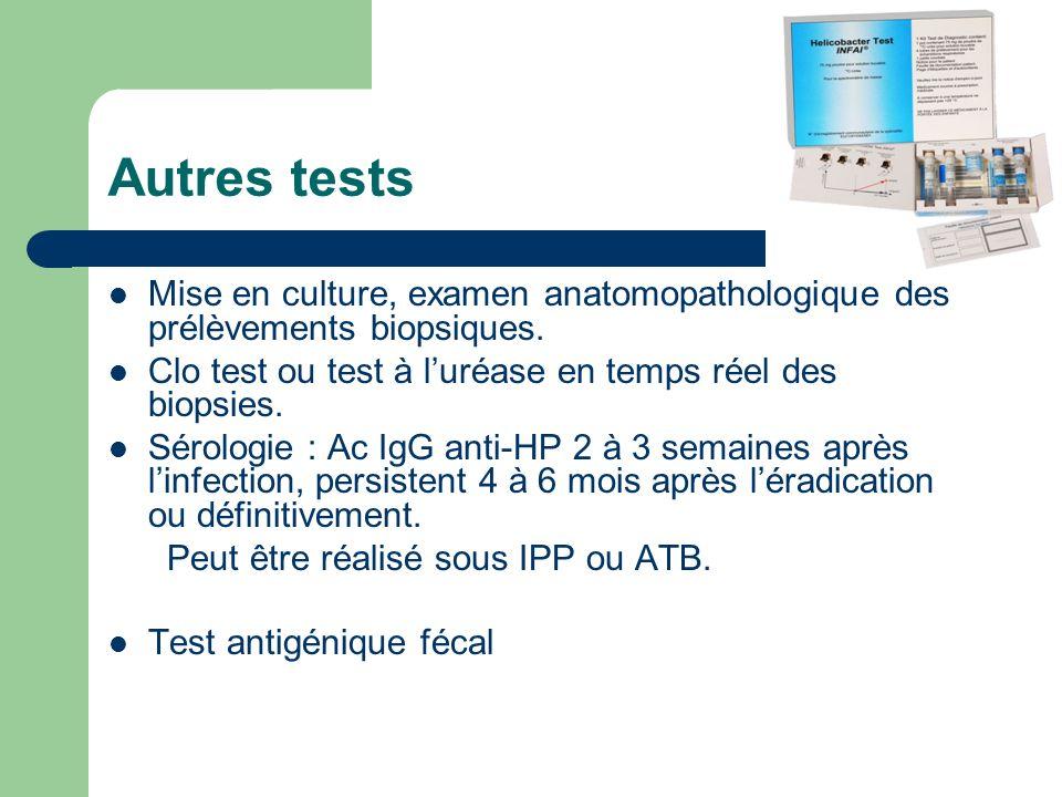 Autres tests Mise en culture, examen anatomopathologique des prélèvements biopsiques. Clo test ou test à luréase en temps réel des biopsies. Sérologie