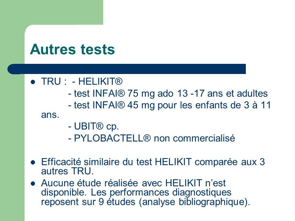 Autres tests TRU : - HELIKIT® - test INFAI® 75 mg ado 13 -17 ans et adultes - test INFAI® 45 mg pour les enfants de 3 à 11 ans. - UBIT® cp. - PYLOBACT