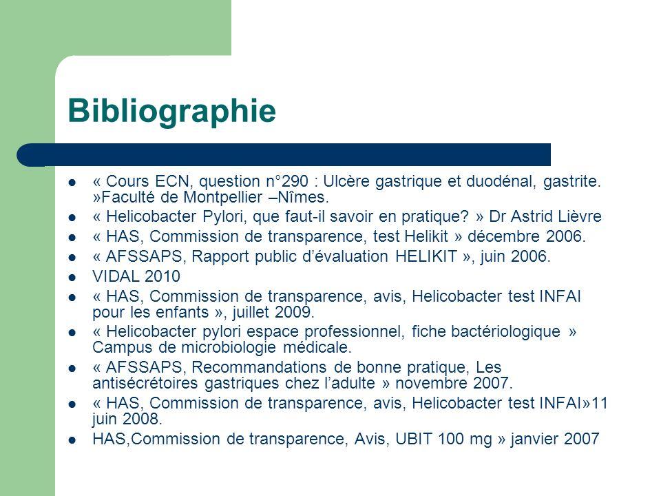Bibliographie « Cours ECN, question n°290 : Ulcère gastrique et duodénal, gastrite. »Faculté de Montpellier –Nîmes. « Helicobacter Pylori, que faut-il