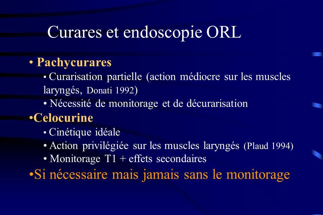 Curares et endoscopie ORL Pachycurares Curarisation partielle (action médiocre sur les muscles laryngés, Donati 1992 ) Nécessité de monitorage et de d