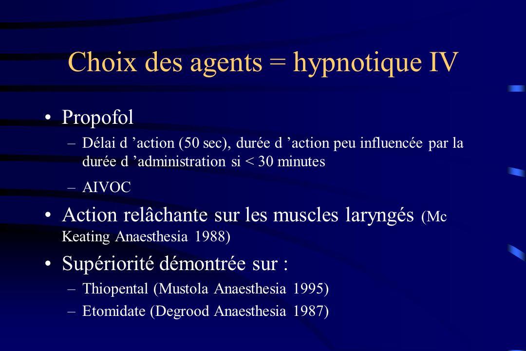 Choix des agents = hypnotique IV Propofol –Délai d action (50 sec), durée d action peu influencée par la durée d administration si < 30 minutes –AIVOC