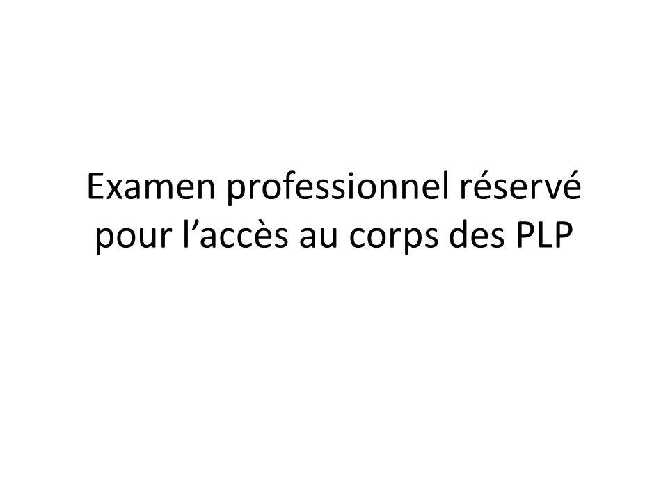 Examen professionnel réservé pour laccès au corps des PLP