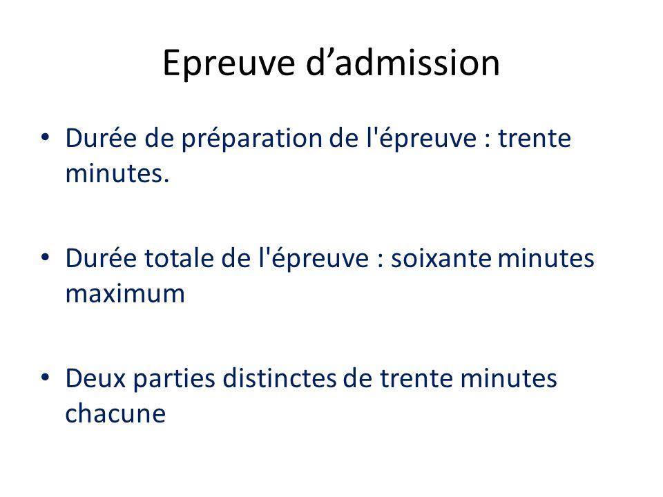 Epreuve dadmission Durée de préparation de l'épreuve : trente minutes. Durée totale de l'épreuve : soixante minutes maximum Deux parties distinctes de