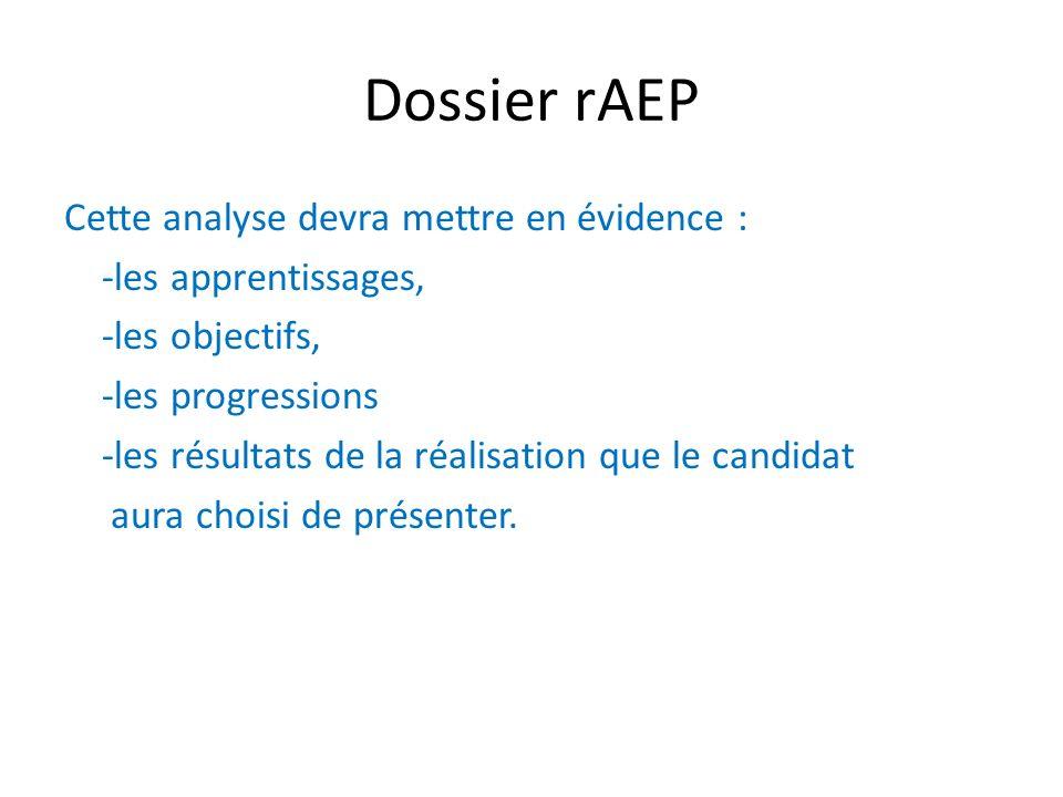 Dossier rAEP Cette analyse devra mettre en évidence : -les apprentissages, -les objectifs, -les progressions -les résultats de la réalisation que le c