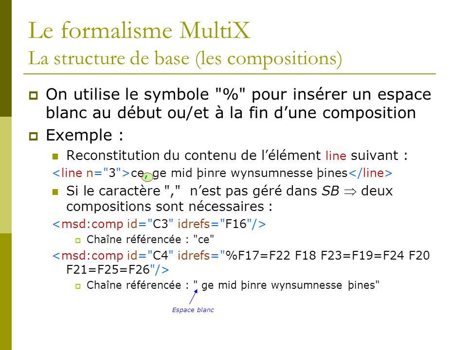 Le formalisme MultiX La structure de base (les compositions) On utilise le symbole % pour insérer un espace blanc au début ou/et à la fin dune composition Exemple : Reconstitution du contenu de lélément line suivant : ce, ge mid þinre wynsumnesse þines Si le caractère , nest pas géré dans SB deux compositions sont nécessaires : Chaîne référencée : ce Chaîne référencée : ge mid þinre wynsumnesse þines Espace blanc