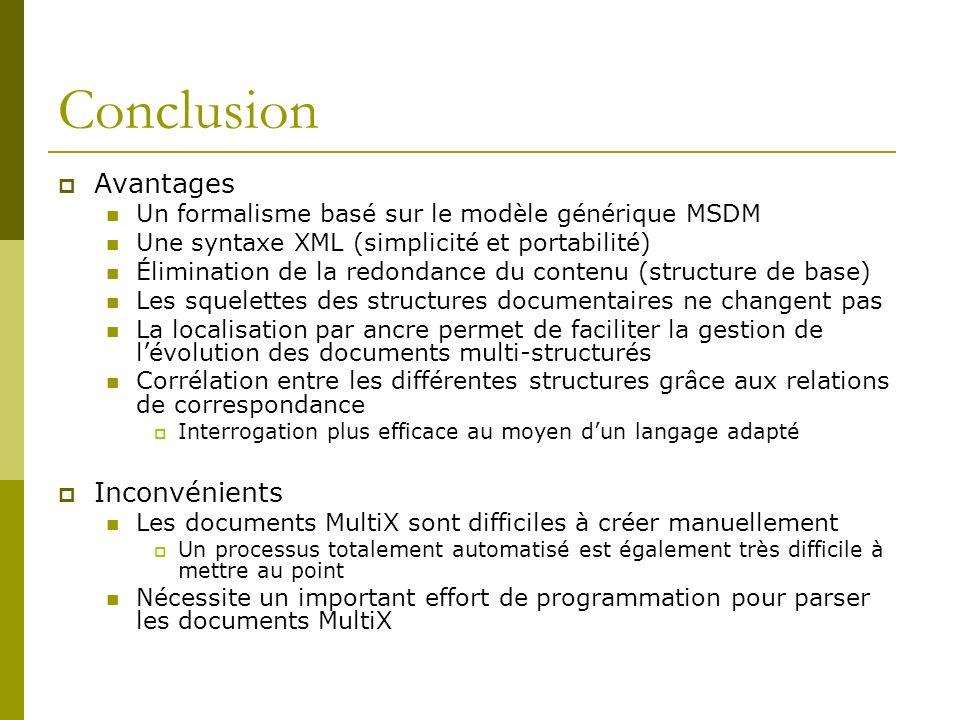 Conclusion Avantages Un formalisme basé sur le modèle générique MSDM Une syntaxe XML (simplicité et portabilité) Élimination de la redondance du conte