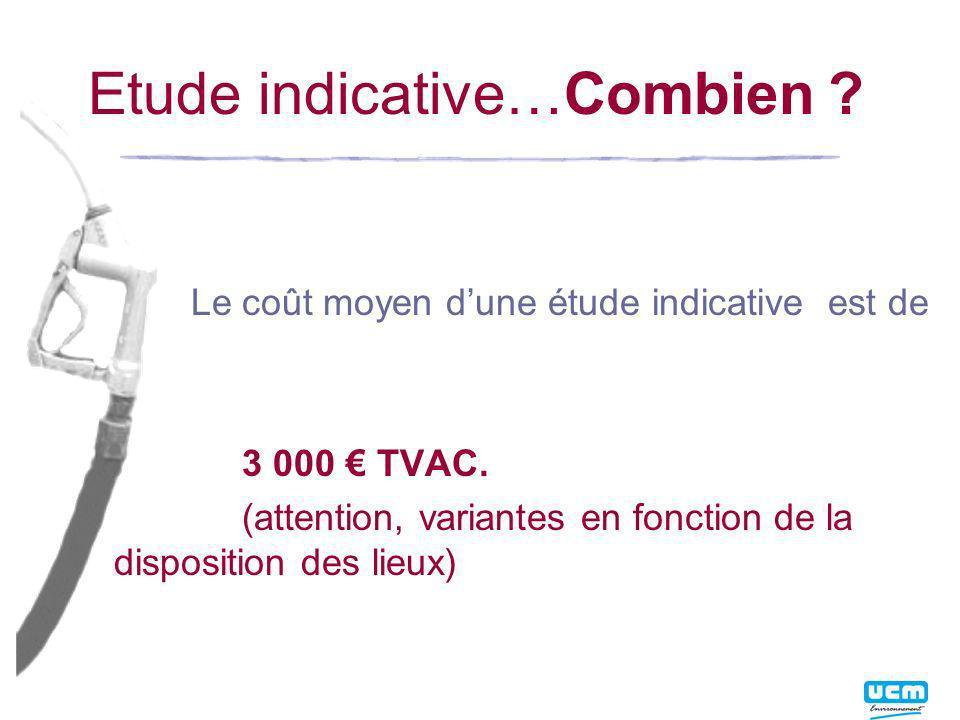 Etude indicative…Combien .Le coût moyen dune étude indicative est de 3 000 TVAC.