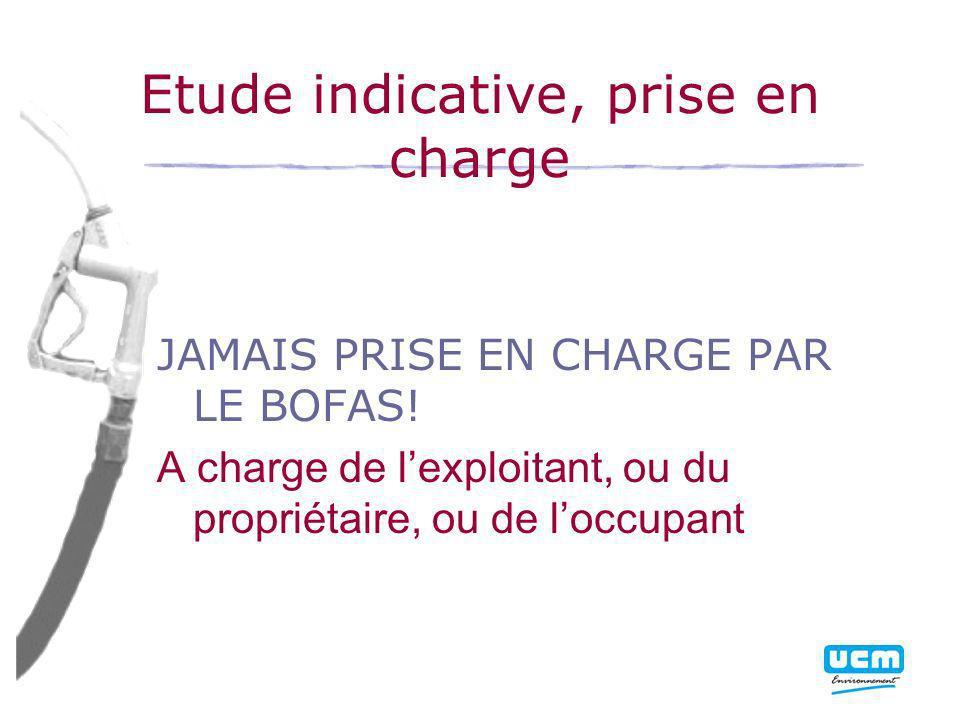 Etude indicative, prise en charge JAMAIS PRISE EN CHARGE PAR LE BOFAS.