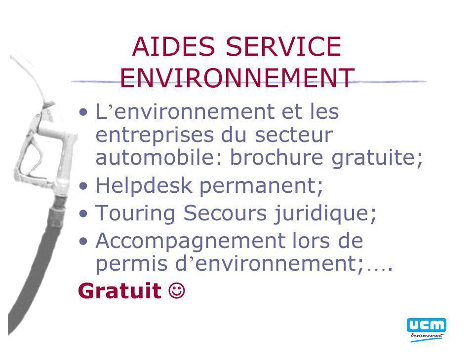 AIDES SERVICE ENVIRONNEMENT L environnement et les entreprises du secteur automobile: brochure gratuite; Helpdesk permanent; Touring Secours juridique; Accompagnement lors de permis d environnement; ….