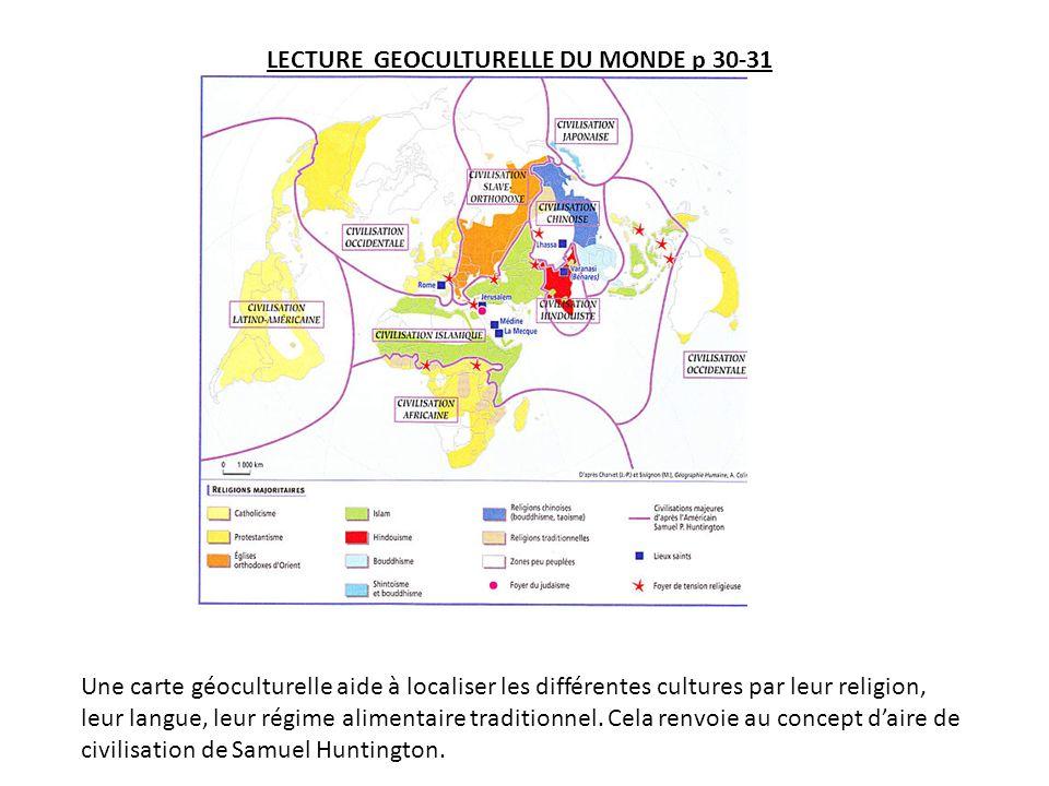 LECTURE GEOCULTURELLE DU MONDE p 30-31 Une carte géoculturelle aide à localiser les différentes cultures par leur religion, leur langue, leur régime alimentaire traditionnel.