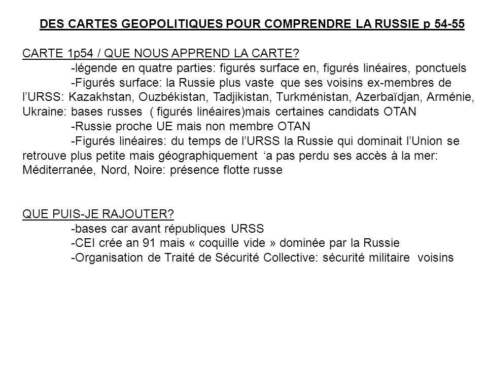 DES CARTES GEOPOLITIQUES POUR COMPRENDRE LA RUSSIE p 54-55 CARTE 1p54 / QUE NOUS APPREND LA CARTE.