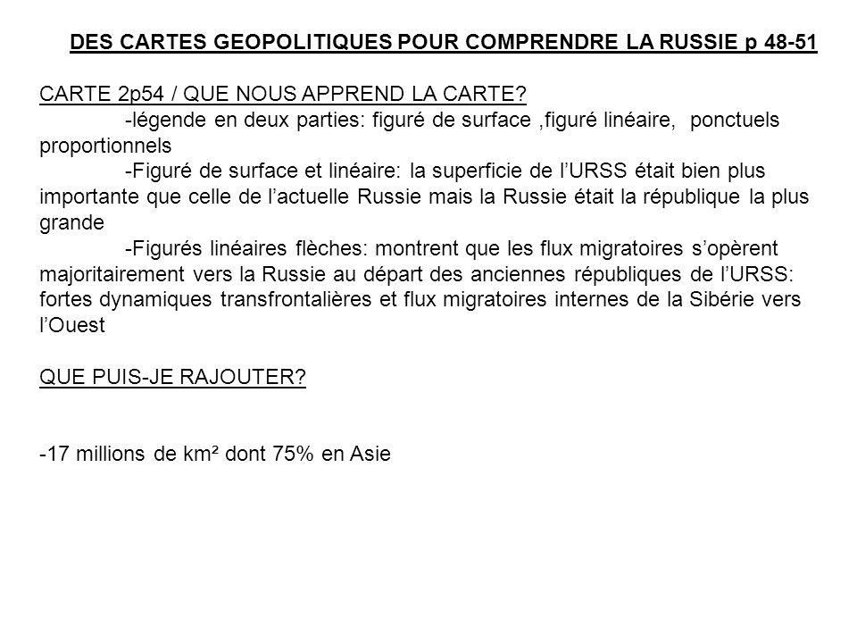 DES CARTES GEOPOLITIQUES POUR COMPRENDRE LA RUSSIE p 48-51 CARTE 2p54 / QUE NOUS APPREND LA CARTE.