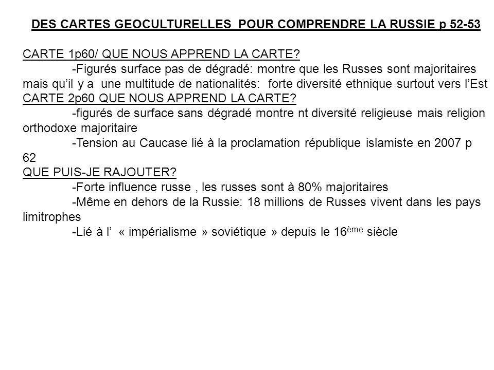 DES CARTES GEOCULTURELLES POUR COMPRENDRE LA RUSSIE p 52-53 CARTE 1p60/ QUE NOUS APPREND LA CARTE.