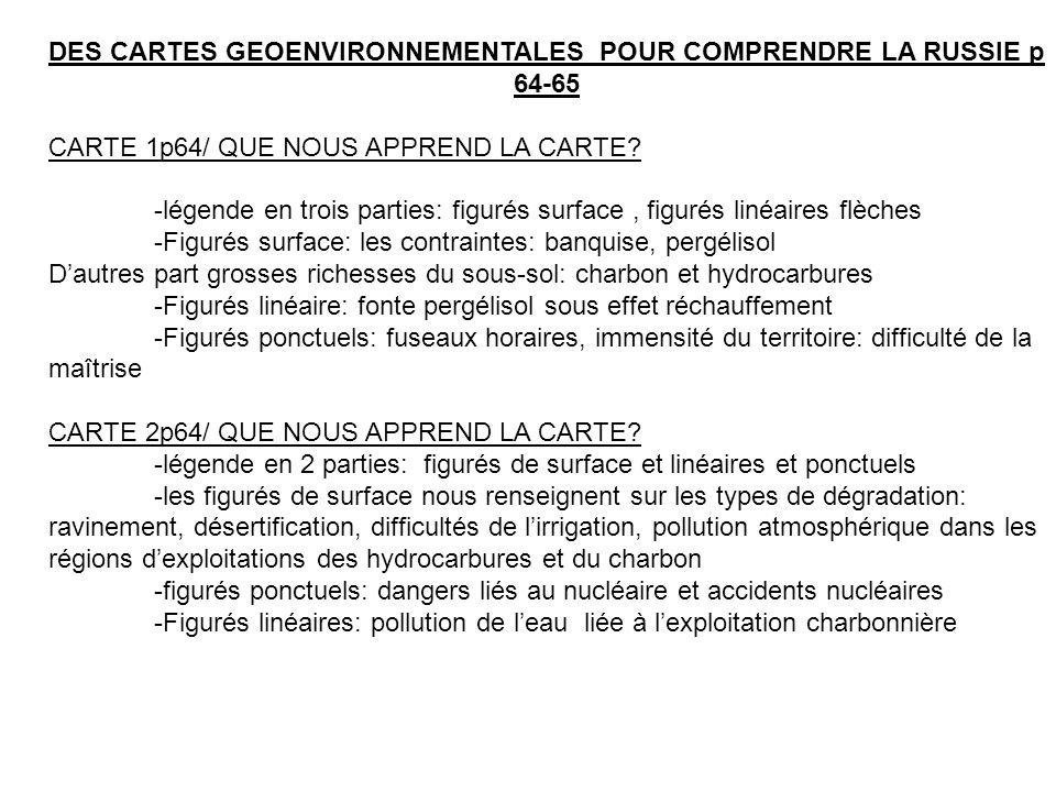 DES CARTES GEOENVIRONNEMENTALES POUR COMPRENDRE LA RUSSIE p 64-65 CARTE 1p64/ QUE NOUS APPREND LA CARTE.