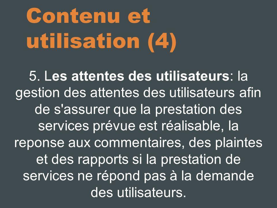 Contenu et utilisation (4) 5.