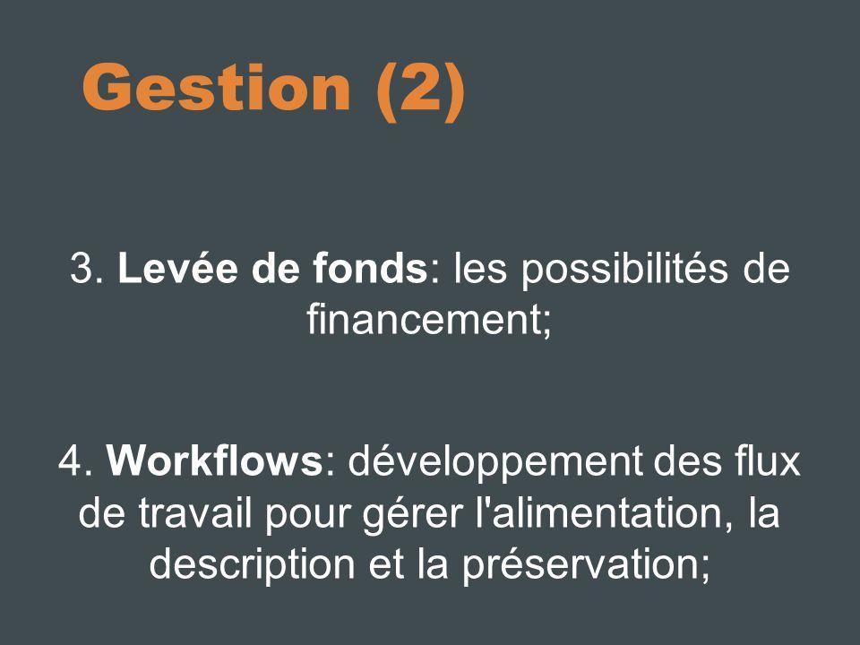 Gestion (2) 3. Levée de fonds: les possibilités de financement; 4.