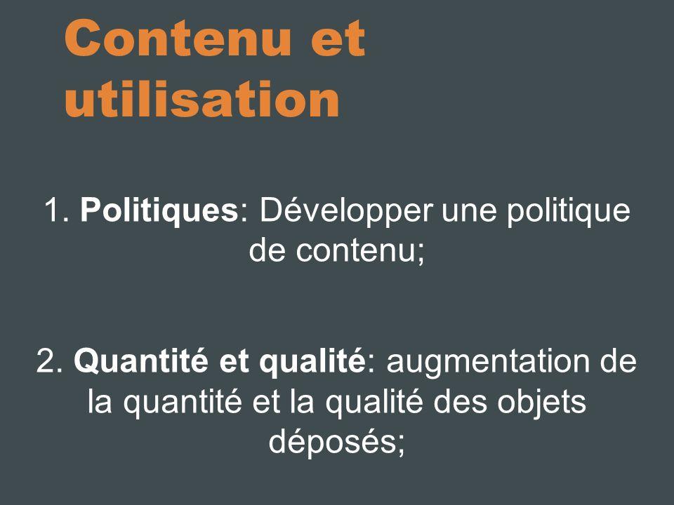 Contenu et utilisation 1. Politiques: Développer une politique de contenu; 2.