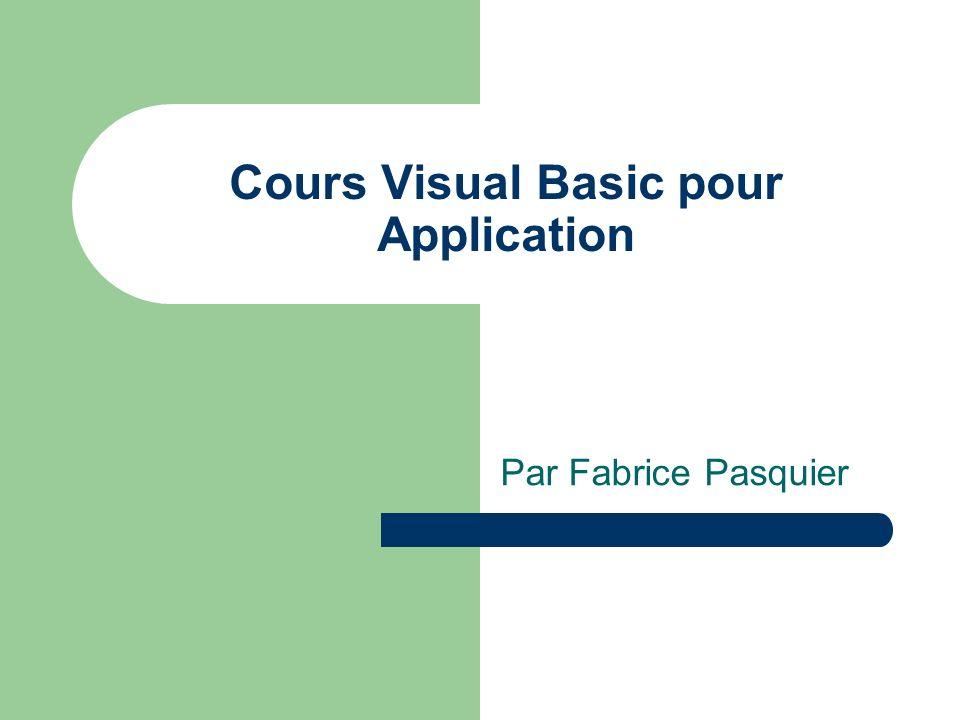 Cours Visual Basic pour Application Par Fabrice Pasquier