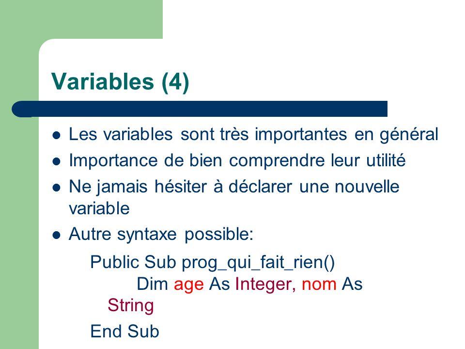 Variables (4) Les variables sont très importantes en général Importance de bien comprendre leur utilité Ne jamais hésiter à déclarer une nouvelle variable Autre syntaxe possible: Public Sub prog_qui_fait_rien() Dim age As Integer, nom As String End Sub