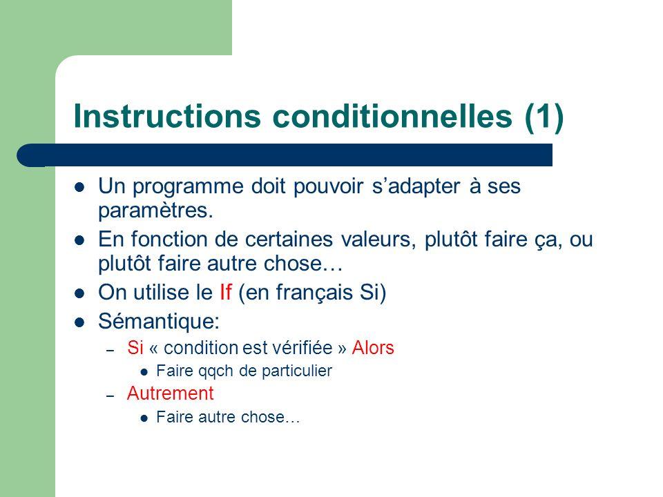 Instructions conditionnelles (1) Un programme doit pouvoir sadapter à ses paramètres.