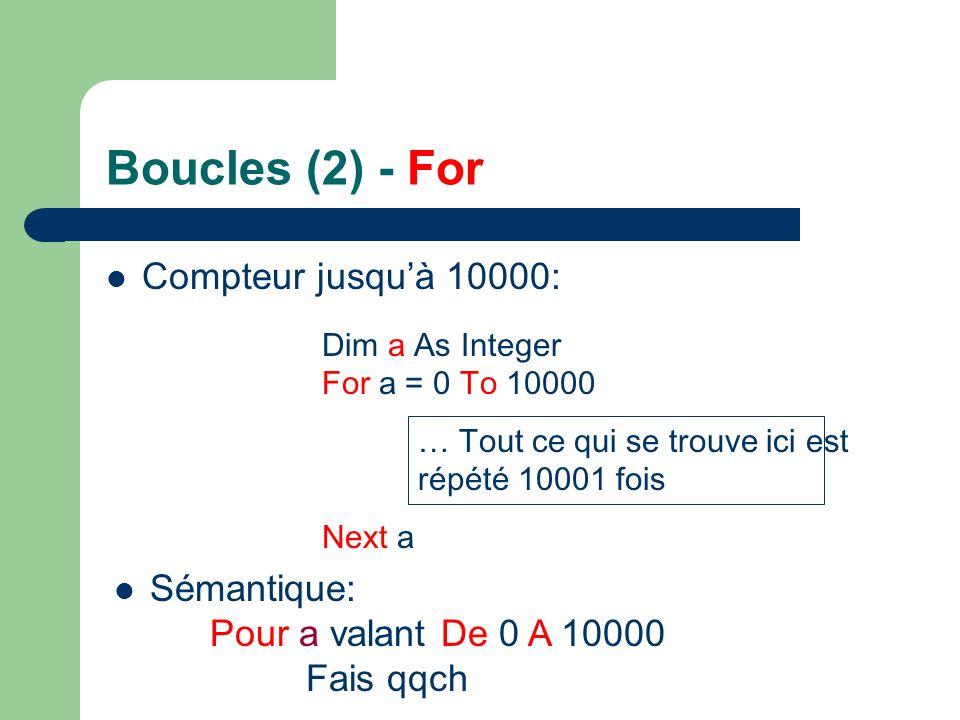 Boucles (2) - For Compteur jusquà 10000: Dim a As Integer For a = 0 To 10000 … Tout ce qui se trouve ici est répété 10001 fois Next a Sémantique: Pour a valant De 0 A 10000 Fais qqch