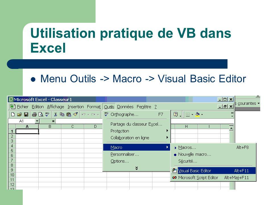 Utilisation pratique de VB dans Excel Menu Outils -> Macro -> Visual Basic Editor