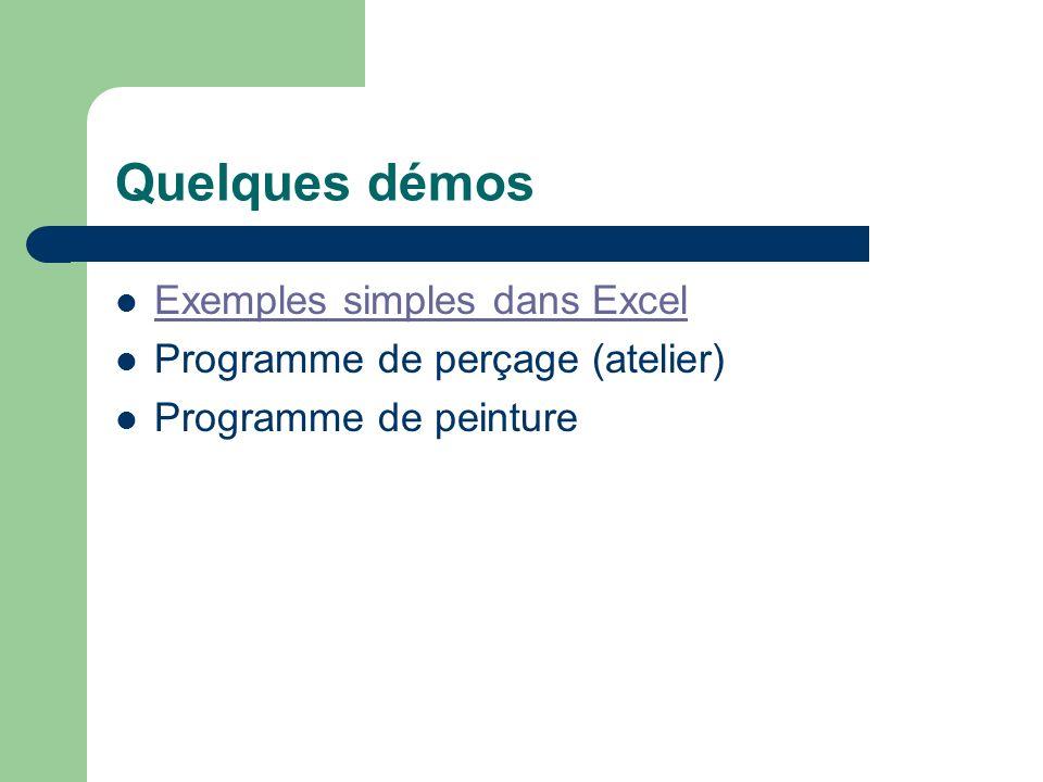 Quelques démos Exemples simples dans Excel Programme de perçage (atelier) Programme de peinture