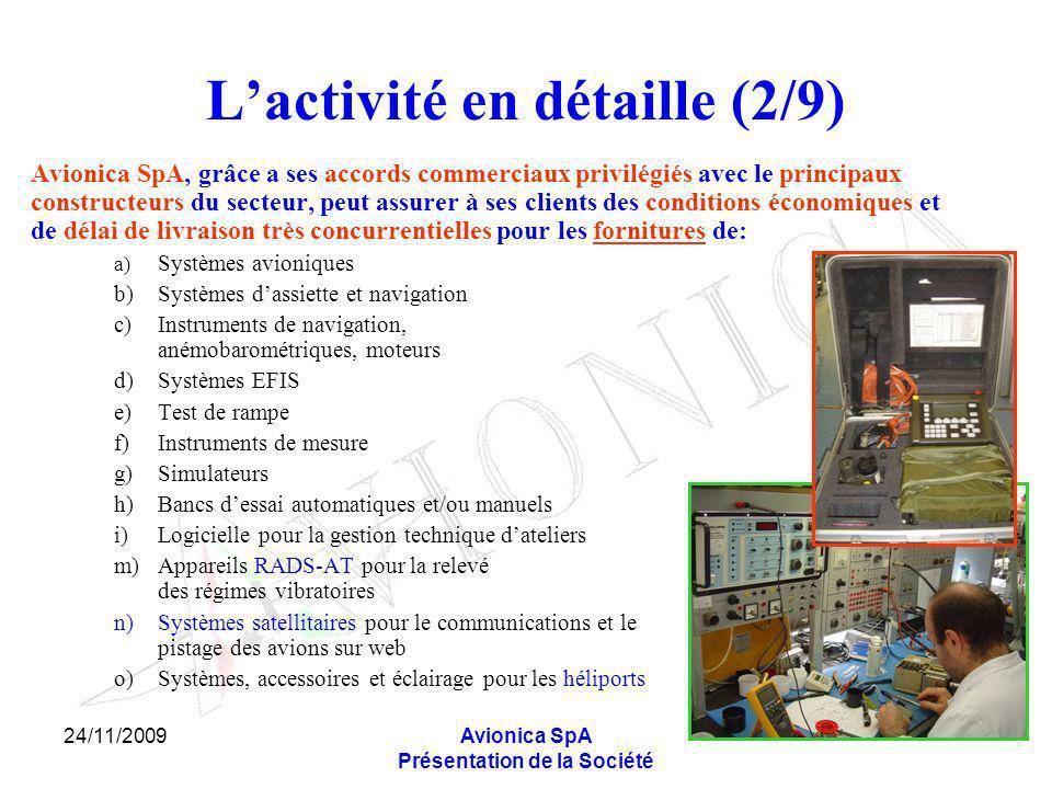 24/11/2009Avionica SpA Présentation de la Société Lactivité en détaille (2/9) Avionica SpA, grâce a ses accords commerciaux privilégiés avec le princi