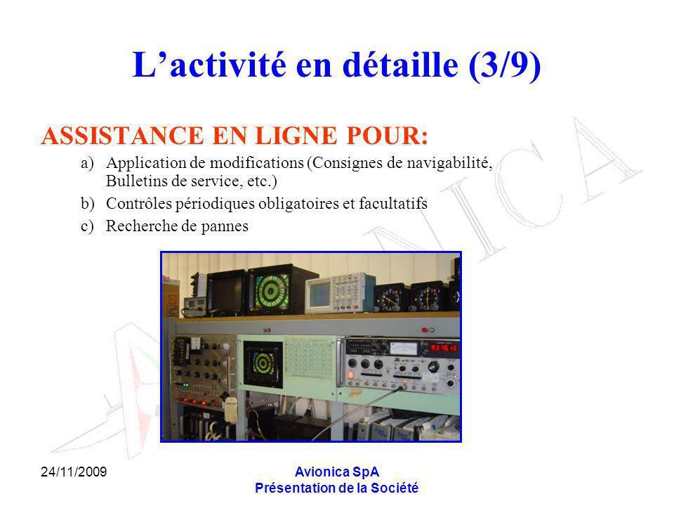 24/11/2009Avionica SpA Présentation de la Société Lactivité en détaille (3/9) ASSISTANCE EN LIGNE POUR: a)Application de modifications (Consignes de n