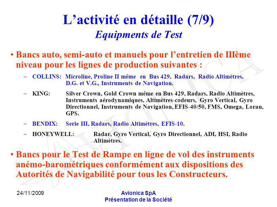24/11/2009Avionica SpA Présentation de la Société Lactivité en détaille (7/9) Equipments de Test Bancs auto, semi-auto et manuels pour lentretien de I