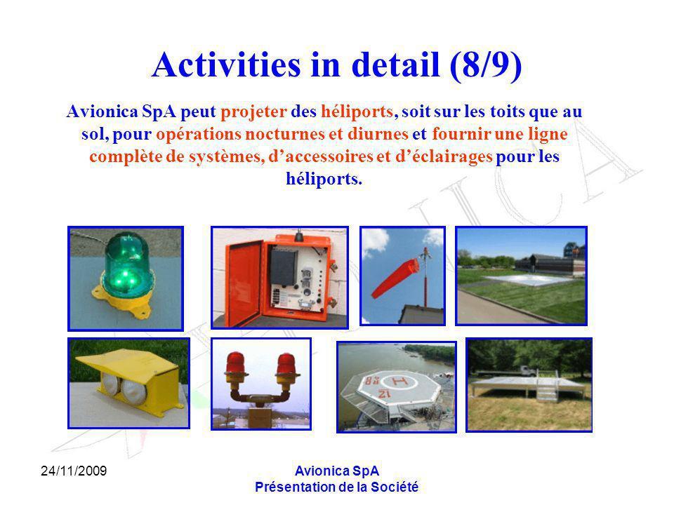 24/11/2009Avionica SpA Présentation de la Société Activities in detail (8/9) Avionica SpA peut projeter des héliports, soit sur les toits que au sol,