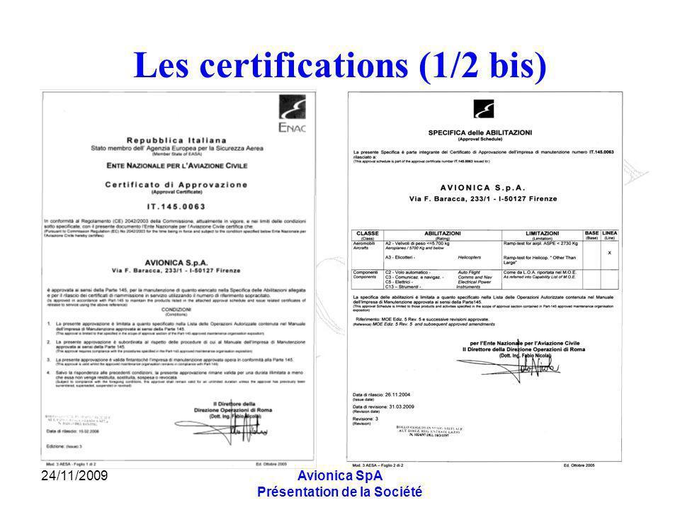 24/11/2009Avionica SpA Présentation de la Société Les certifications (1/2 bis)