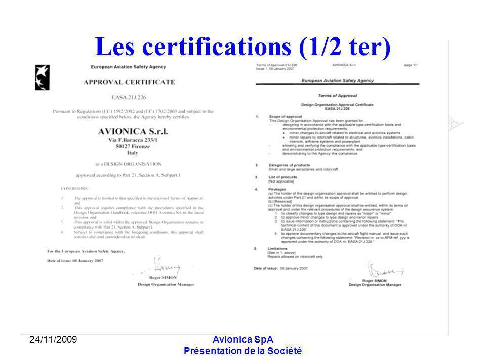 24/11/2009Avionica SpA Présentation de la Société Lactivité en détaille (6/9) ASSISTANCE EN LIGNE DE VOL: Test de Rampe pour effectuer les contrôles fonctionnel des systèmes avioniques (COMM/NAV, IFF, Radar/Radio Alt., DME etc.), des systèmes anémo-barométriques (Altimètres, Anémomètres, Variomètres etc.) et FLIR.