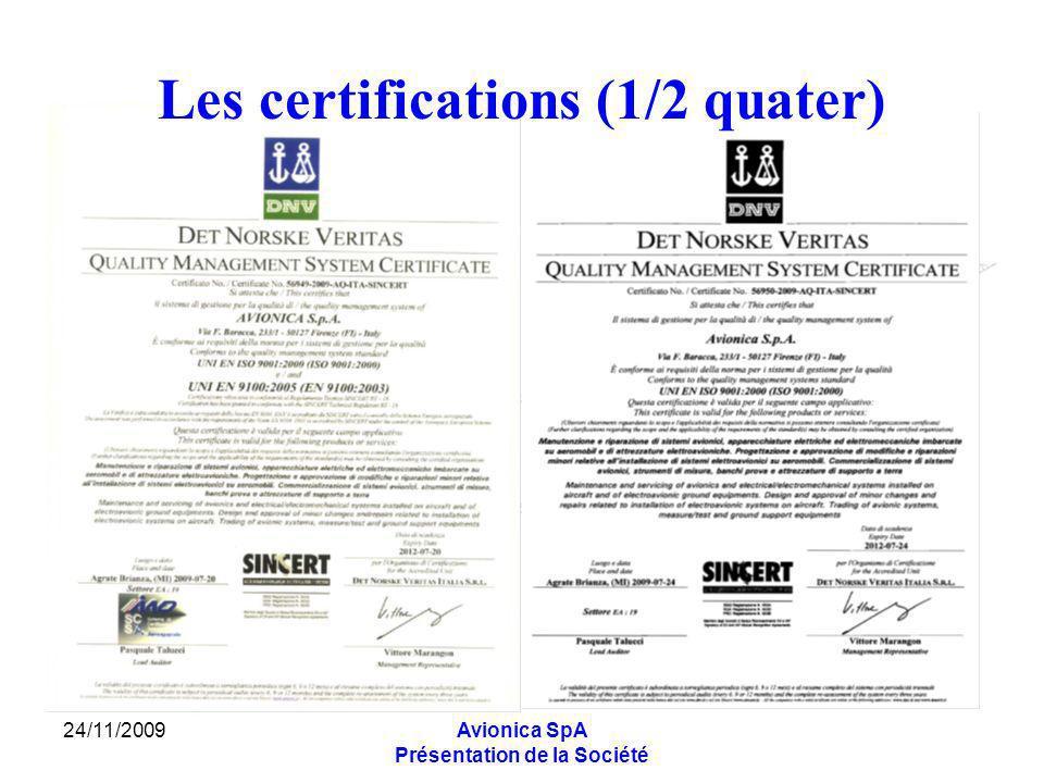 24/11/2009Avionica SpA Présentation de la Société Les certifications (1/2 quater)