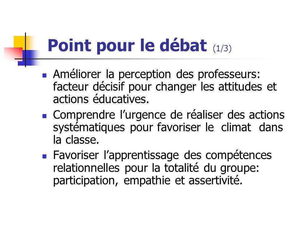 Point pour le débat (1/3) Améliorer la perception des professeurs: facteur décisif pour changer les attitudes et actions éducatives.
