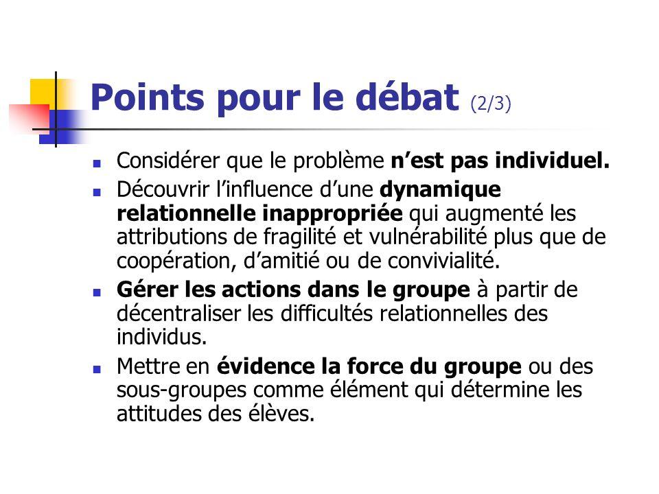 Points pour le débat (2/3) Considérer que le problème nest pas individuel. Découvrir linfluence dune dynamique relationnelle inappropriée qui augmenté