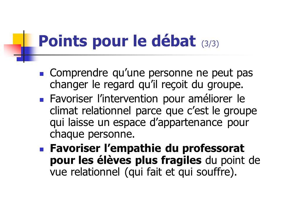 Points pour le débat (3/3) Comprendre quune personne ne peut pas changer le regard quil reçoit du groupe. Favoriser lintervention pour améliorer le cl
