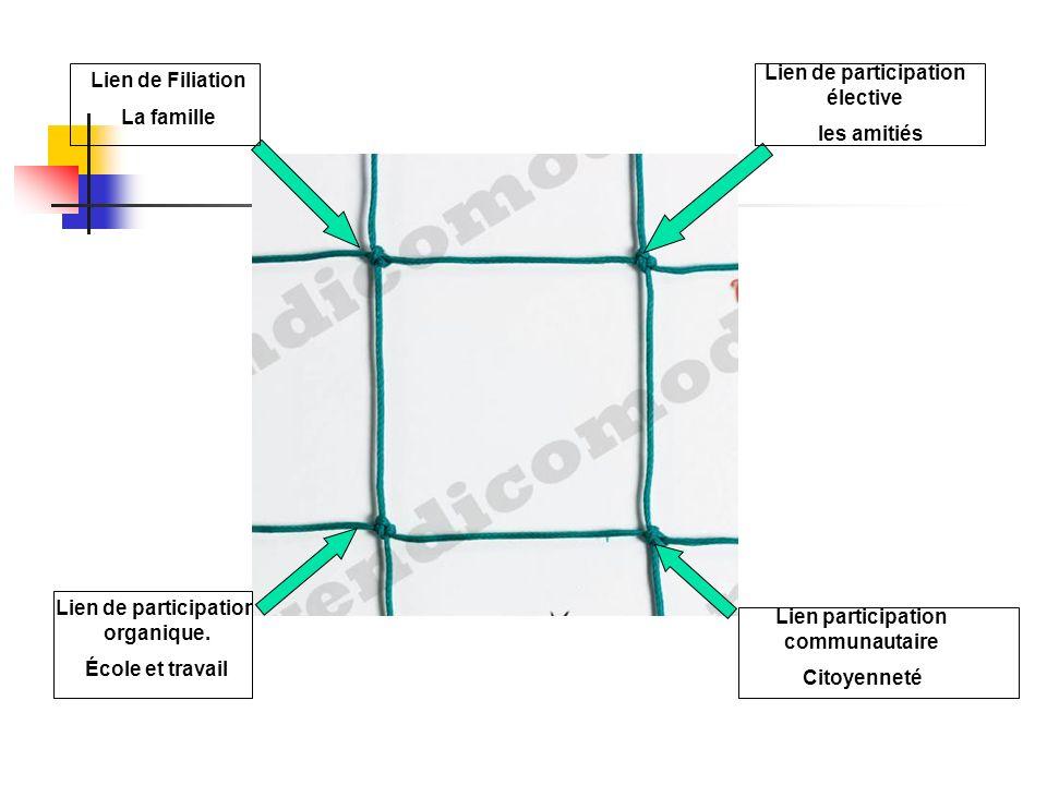 Lien de Filiation La famille Lien de participation élective les amitiés Lien de participation organique.