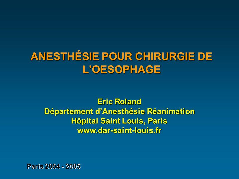 ANESTHÉSIE POUR CHIRURGIE DE LOESOPHAGE Eric Roland Département dAnesthésie Réanimation Hôpital Saint Louis, Paris www.dar-saint-louis.fr Paris 2004 - 2005