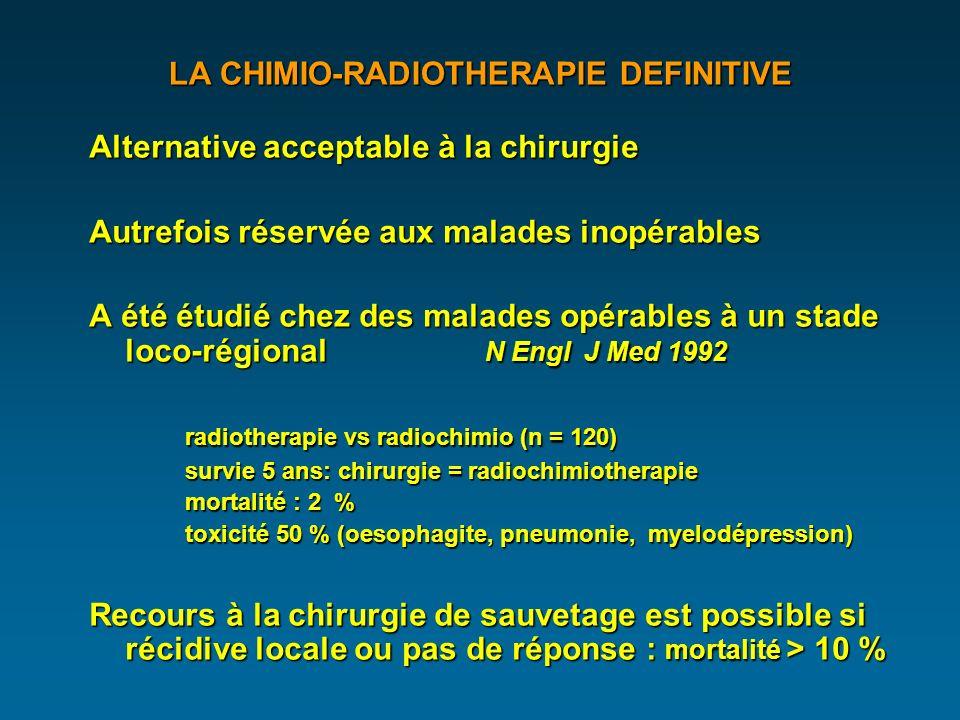 LA CHIMIO-RADIOTHERAPIE DEFINITIVE Alternative acceptable à la chirurgie Autrefois réservée aux malades inopérables A été étudié chez des malades opérables à un stade loco-régional N Engl J Med 1992 radiotherapie vs radiochimio (n = 120) survie 5 ans: chirurgie = radiochimiotherapie mortalité : 2 % toxicité 50 % (oesophagite, pneumonie, myelodépression) Recours à la chirurgie de sauvetage est possible si récidive locale ou pas de réponse : mortalité > 10 %