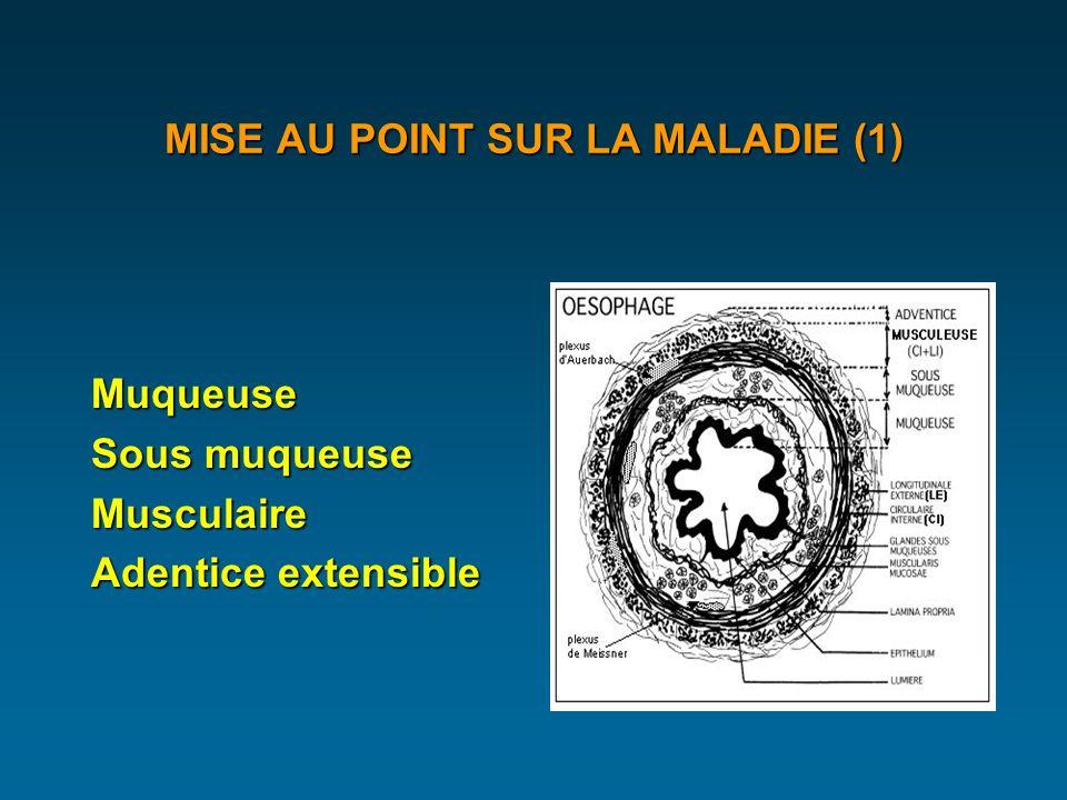 MISE AU POINT SUR LA MALADIE (1) Muqueuse Sous muqueuse Musculaire Adentice extensible