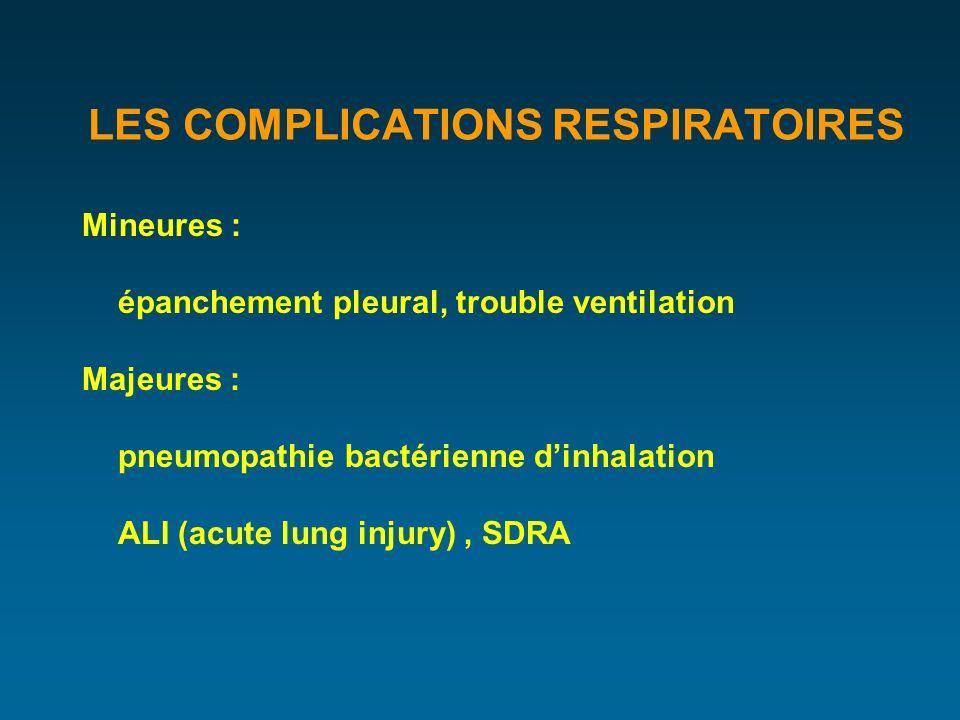 LES COMPLICATIONS RESPIRATOIRES Mineures : épanchement pleural, trouble ventilation Majeures : pneumopathie bactérienne dinhalation ALI (acute lung injury), SDRA