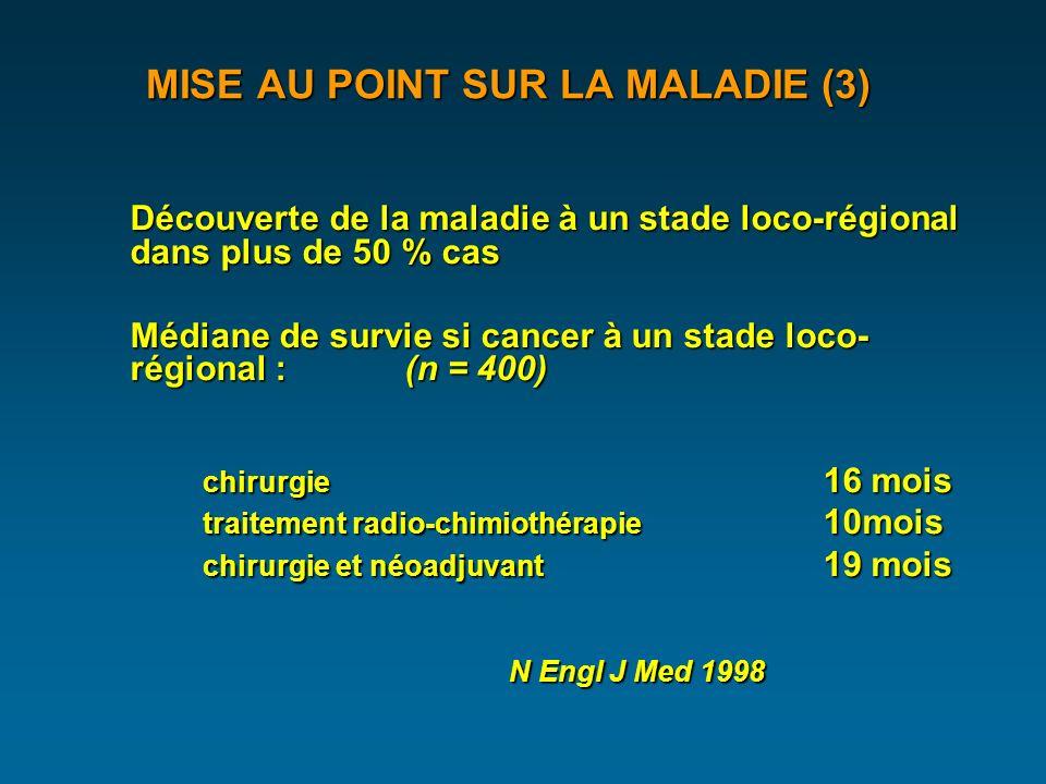 MISE AU POINT SUR LA MALADIE (3) Classification TNM : STADE et PRONOSTIC Gastroenterol Clin Biol 1999 in situ : intra épithelialin situ : intra épithelial T1 : sous muqueuseT1 : sous muqueuse T2 : musculeuseT2 : musculeuse T3 : adventiceT3 : adventice T4 : organe voisinT4 : organe voisin N0 N1N0 N1 survie 5 ans dépistage Stade 0 in situ 85 % < 5 % < 5 % Stade I T1 40 - 80 % Stade IIA T2-T3 30 - 40 % Stade IIB T1T2 N1 20 – 40 % > 50 % > 50 % Stade III T3-T4 N1 8 – 20 % Stade IV M1 0 % 45 %