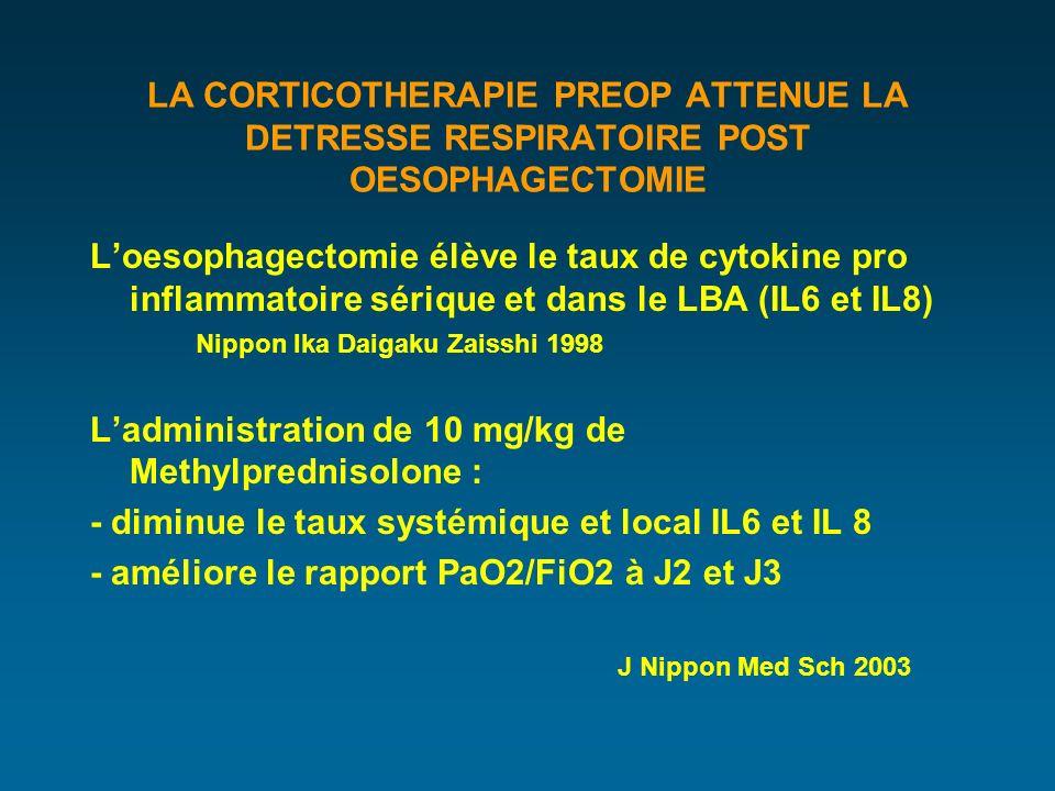 LA CORTICOTHERAPIE PREOP ATTENUE LA DETRESSE RESPIRATOIRE POST OESOPHAGECTOMIE Loesophagectomie élève le taux de cytokine pro inflammatoire sérique et dans le LBA (IL6 et IL8) Nippon Ika Daigaku Zaisshi 1998 Ladministration de 10 mg/kg de Methylprednisolone : - diminue le taux systémique et local IL6 et IL 8 - améliore le rapport PaO2/FiO2 à J2 et J3 J Nippon Med Sch 2003