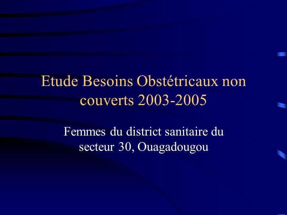 Etude Besoins Obstétricaux non couverts 2003-2005 Femmes du district sanitaire du secteur 30, Ouagadougou