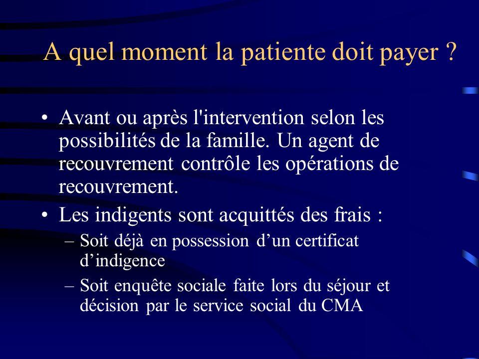 A quel moment la patiente doit payer ? Avant ou après l'intervention selon les possibilités de la famille. Un agent de recouvrement contrôle les opéra