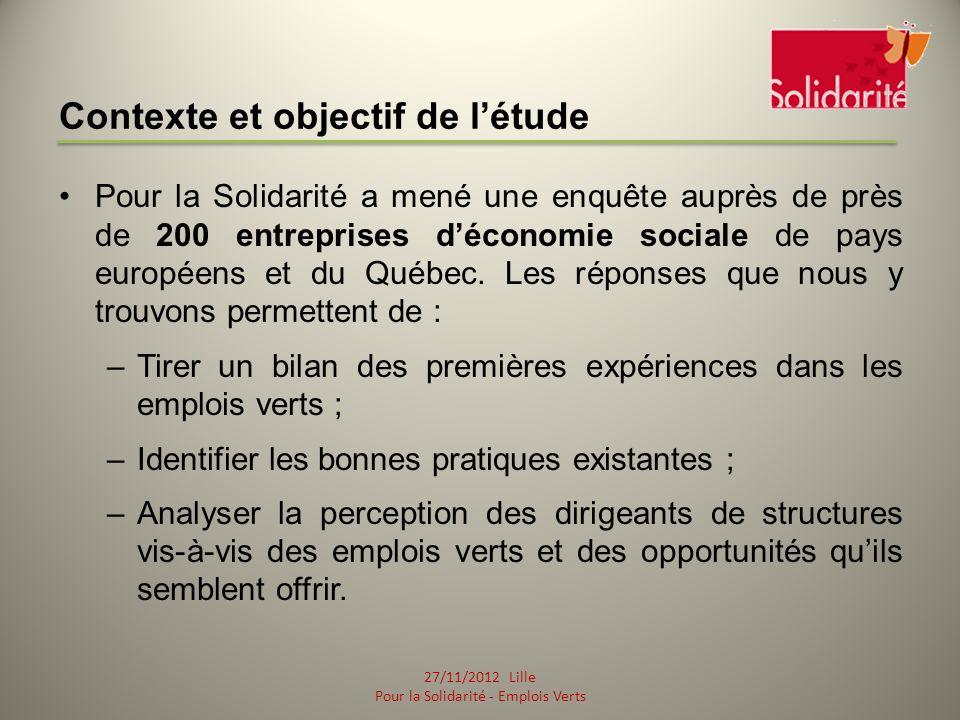 Contexte et objectif de létude Pour la Solidarité a mené une enquête auprès de près de 200 entreprises déconomie sociale de pays européens et du Québec.