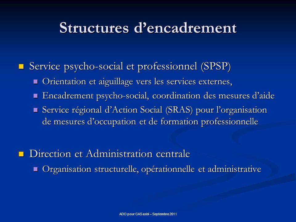Structures dencadrement Service psycho-social et professionnel (SPSP) Service psycho-social et professionnel (SPSP) Orientation et aiguillage vers les
