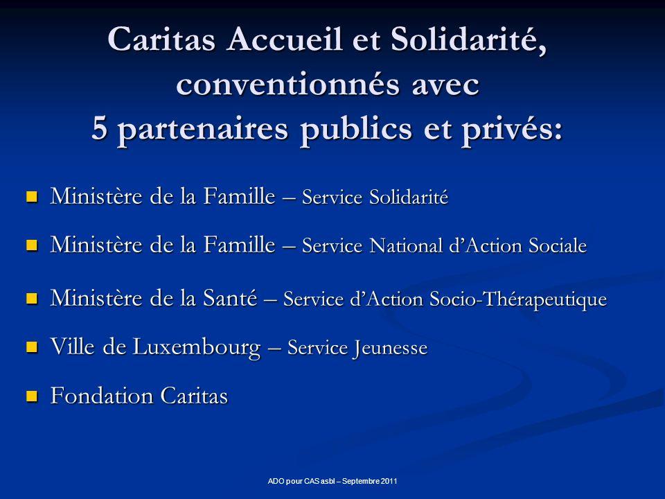 ADO pour CAS asbl – Septembre 2011 Caritas Accueil et Solidarité, conventionnés avec 5 partenaires publics et privés: Ministère de la Famille – Servic